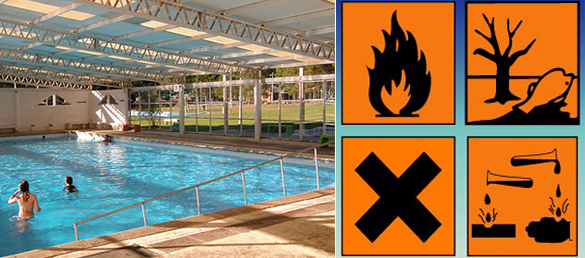 Tratamiento de sustancias qu micas en las piscinas la for Tratamientos de piscinas